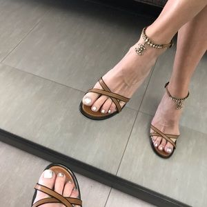 Chanel brown/black jeweled strappy heel 40.